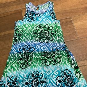 Tropical blue and green floral dress